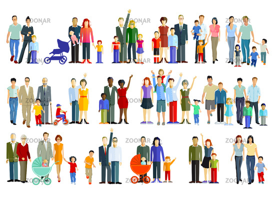 Parents with children, families and couples