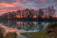 Dawn at a small lake in Bavaria, Germany