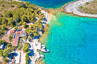 Mlini beach on Pakleni Otoci islands aerial view