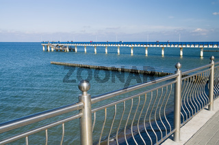 Zelenogradsk, Kaliningrad region, Russia - september 28, 2020: tourists walk along the sea promenade, a popular holiday destination