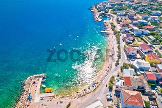 Razanac. Historic town of Razanac beach and waterfront aerial view