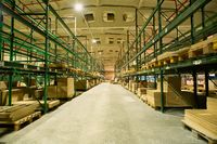 Huge storage warehouse interior on factory