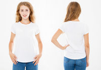 set tshirt. Collage woman in white t shirt isolated, mock up, copy space