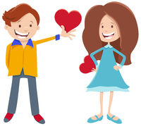 valentine card with girl and boy characters