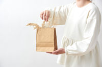 Female holds in her hands paper eco bag with dry natural plant twigs.