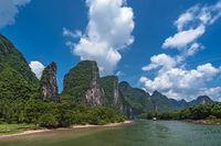 Tourist boat sailing on a Li River in China