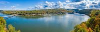 Aerial panorama of fall colors on Cheat Lake Morgantown, WV
