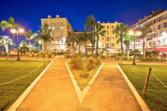City of Nice park and architecture evening view