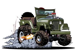 Vector Cartoon 4x4 car hot rod isolated