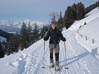 Snowshoe hikers in the Alps