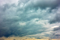 Dramatic sky with gray heavy clouds