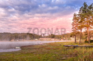 Morning mist by the lake, Bulgaria, Rhodope