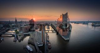 Panorama of the Elbphilharmony, Hafencity and Speicherstadt in Hamburg at sunrise