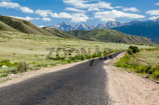 Asphalt road in Tien Shan mountains