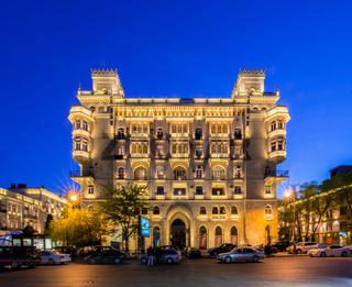 Baku - MAY 5, 2014: Illuminated building in the city center on May 5 in Azerbaijan, Baku. Baku is becoming a popular tourist destination