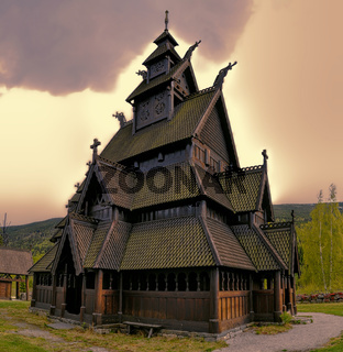 Gol Stave Church in Norway on cloudy day