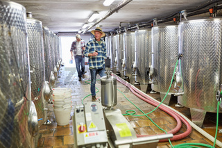 Winzer vor den Gärtanks in der Weinkellerei