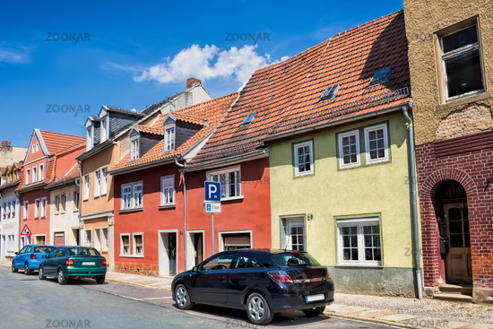 Naumburg, Germany - June 18, 2019 - renovated houses in the old town