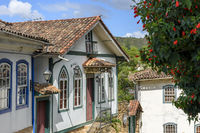 Old houses in colonial architecture in the old and historic city of Ouro Preto