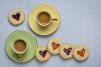 jam heart biscuits and coffee