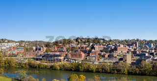 Aerial drone panorama of the downtown campus and buildings of the university in Morgantown, West Virginia