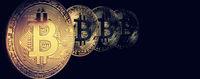 Physical bitcoins. Virtual crypto currency coin. Blockchain technology.