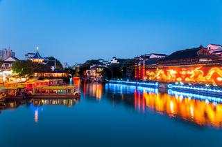 nanjing confucius temple in nightfall