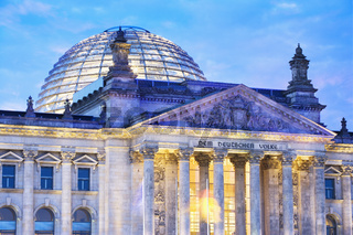 Close-up of the front of the Reichstag Building at dusk