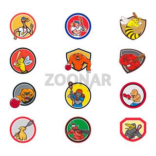 Cartoon Animals Sports Activity Mascot Set Collection