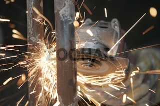 Sparks while working with a angle grinder