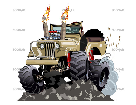 Vector Cartoon 4x4 car hot rod isolated