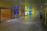 No visitors and no passengers on airport frankfurt rhine main during corona at empty corridors