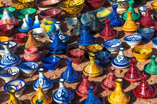 Colorful ceramic tajines in the market, Morocco