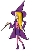 girl in witch costume at Halloween party cartoon illustration