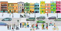 City with road traffic, apartment buildings and pedestrians on the sidewalk, illustration