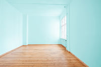 empty  room in apartment flat with green painted walls -