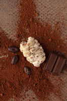 Cocoa beans, chocolate and powder on brown table.
