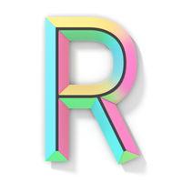Neon color bright font Letter R 3D