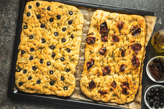Homemade Italian Focaccia. Traditional Italian pastries