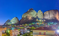 Meteora rocks and Kalabaka town at night
