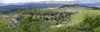 Panorama der Landschaft bei Monrupino nahe der slowenischen Grenze  Italien; panoramic