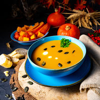 delicious creamy pumpkin soup with coconut milk