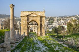 Northern gate of the roman ruins site at Gerasa, Jerash, Jordan