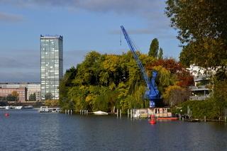 Panorama am Fluss Spree, Halbinsel Stralau, Lichtenberg, Berlin