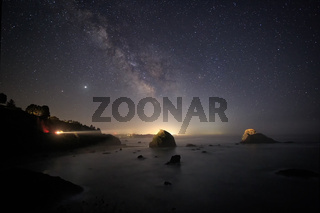The Milky Way Over a Rocky Beach