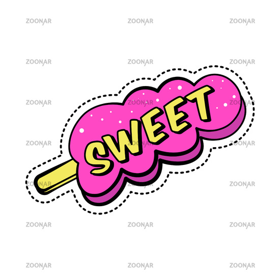 Colorful sticker with text, sweet pink ice cream on stick, retro style cartoon patch badge, vector illustration isolated.
