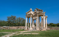 Tetrapylon Gate in Aphrodisias ancient city, Aydin, Turkey.