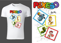 T-shirt Design with Cards of Cartoon Animal