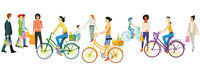 People walking and cycling illustration