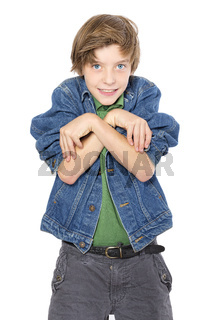 playful teenage boy makes strange gestures, isolated on white